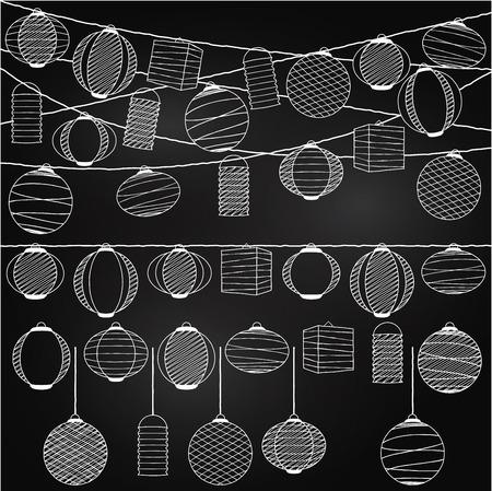 Vector Set van Schoolbord Style Opknoping Paper Holiday Lantaarns Stock Illustratie
