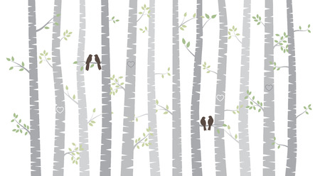 birch: Vector Birch or Aspen Trees with Autumn Leaves and Love Birds