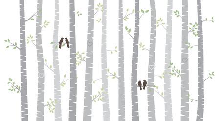 birretes: Vector de abedul o Aspen árboles con hojas de otoño y los pájaros del amor Vectores