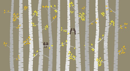 birch bark: Vector Birch or Aspen Trees with Autumn Leaves and Love Birds