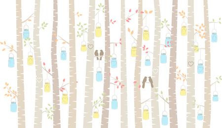 mason: Birch or Aspen Trees with Hanging Mason Jars and Love Birds