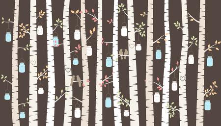 Bouleau ou Aspen Trees avec pots de maçon accrochants et Love Birds Banque d'images - 32015676