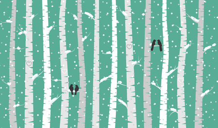 Birch or Aspen Trees with Snow and Love Birds Stock Illustratie