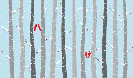 arboleda: Abedul o Aspen árboles con nieve y los pájaros del amor