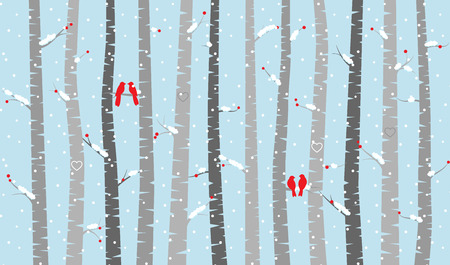 fall winter: Birch or Aspen Trees with Snow and Love Birds Illustration