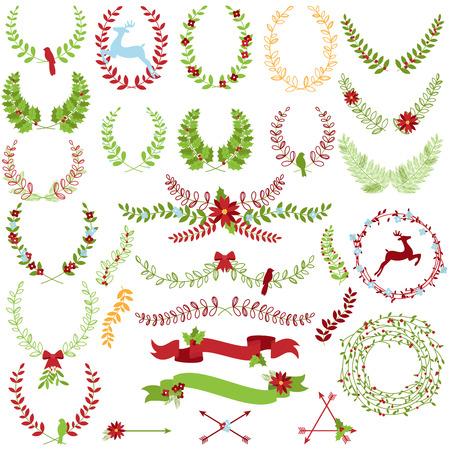 Collection Vecteur de thème de Noël de vacances lauriers et Couronnes
