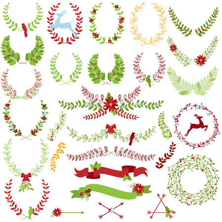 Vector Collection of Christmas Holiday Themed Laurels and Wreaths Illustration