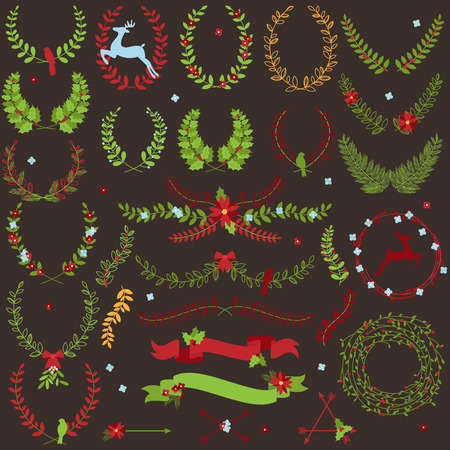 Collection of Christmas Holiday Themed Laurels and Wreaths Vector