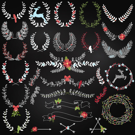 crown of light: Collection of Chalkboard Christmas Holiday Themed Laurels and Wreaths