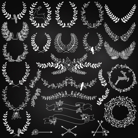 Collection of Chalkboard Christmas Holiday Themed Laurels and Wreaths Vector