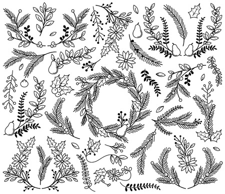 pear tree: Vector Collection of Vintage Style Hand Drawn Christmas Holiday Florals