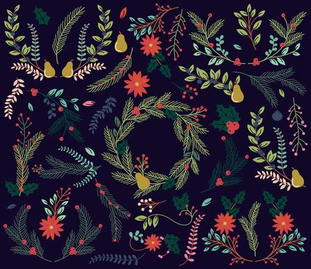 flor de pascua: Vector colecci�n de Vintage Style Hand Drawn Navidad Florals de vacaciones Vectores