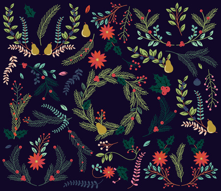 christmas embellishments: Vector Collection of Vintage Style Hand Drawn Christmas Holiday Florals
