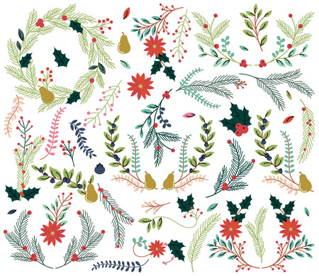 holiday: Vector Collection of Vintage Style Hand Drawn Christmas Holiday Florals