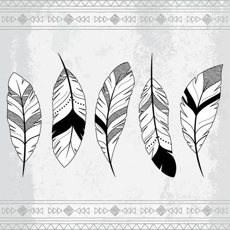 Vector Doodle Stilisierte Feder Hintergrund Standard-Bild - 32366080