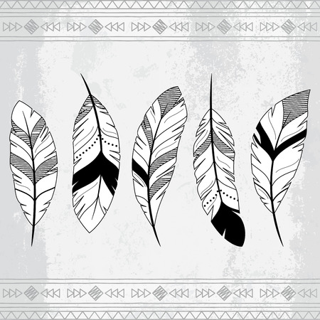 american indian aztec: Vector Doodle Stylized Feather Background Illustration