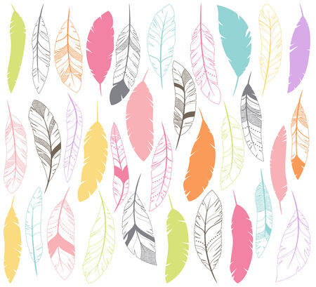 Vector Set of Stylized or Abstract Feathers and Feather Silhouettes Illusztráció