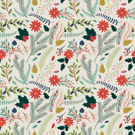 Seamless Tileable Christmas Holiday Floral Background Pattern - Vector Illustration Vector
