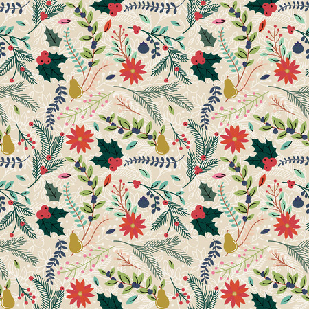 holly berry: Seamless Tileable Christmas Holiday Floral Background Pattern - Vector Illustration