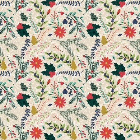 corona navidad: Seamless Tileable Christmas Holiday floral patrón de fondo - ilustración vectorial Vectores