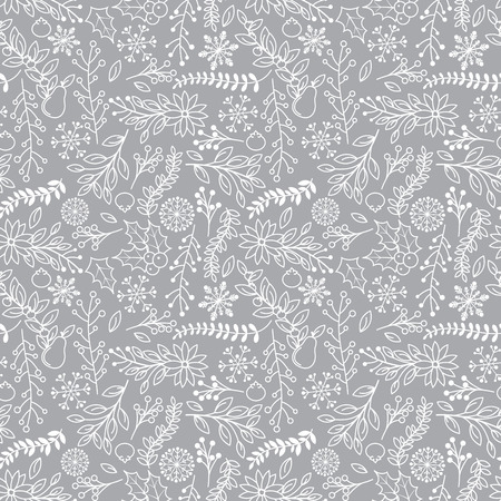 tileable: Seamless Tileable Christmas Holiday Floral Background Pattern - Vector Illustration