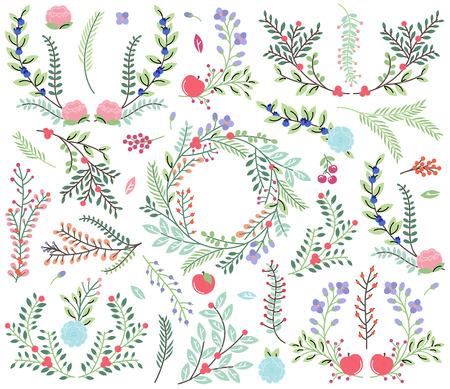 Collection Vecteur de style Vintage main Drawn Floral