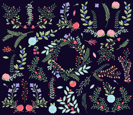 Vector Collection of Vintage Style Hand Drawn Florals Vector