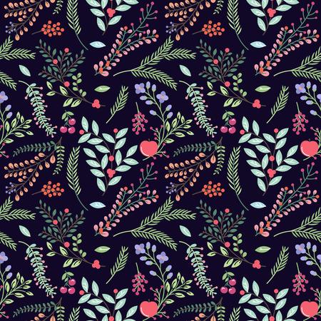 Seamless Tileable Vintage Floral Background Pattern - Vector Illustration Illustration