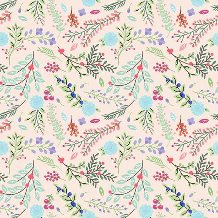 seamless: Seamless Tileable Vintage Floral Background Pattern - Vector Illustration Illustration