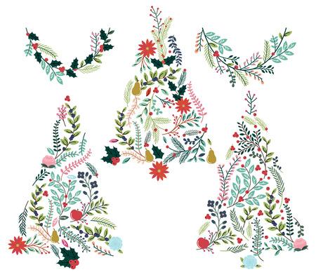 花や植物のクリスマス ツリーとホオジロ  イラスト・ベクター素材