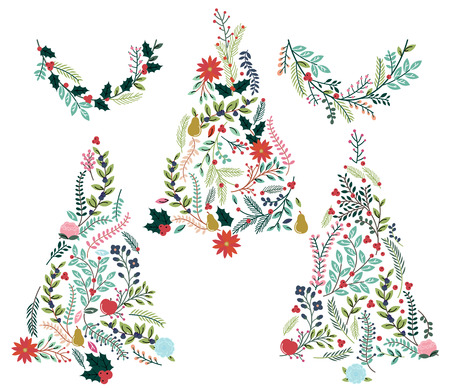 Floral or Botanical Christmas Trees and Bunting