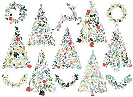 flor de pascua: Floral o botánico árboles de navidad, guirnaldas, Bunting y reno
