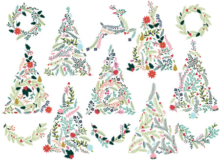 poinsettia: Floral or Botanical Christmas Trees, Wreaths, Bunting and Reindeer