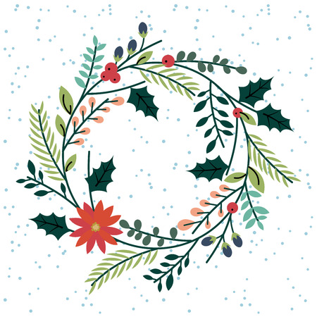 corona navidad: Floral o Botánico Corona de Navidad Vectores