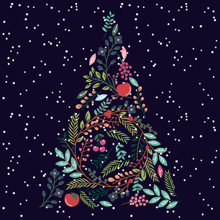 Floral or Botanical Christmas Tree