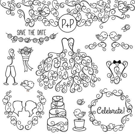 Hand Drawn Doodle Style Wedding Vector Set with Dress, Tuxedo and Monogram Border Illustration