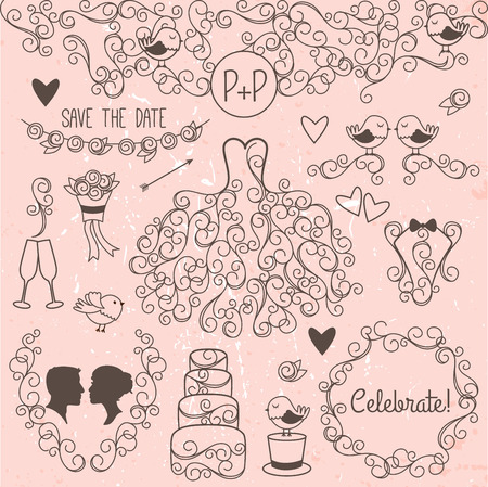 Hand Drawn Doodle Style Wedding Vector Set with Dress, Tuxedo and Monogram Border Vector