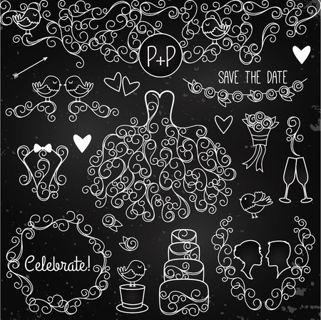 Hand Drawn Chalkboard Wedding Vector Set with Dress, Tuxedo and Monogram Border Vector
