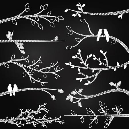 animal limb: Chalkboard Style Tree Branch Silhouette Vectors with Birds Illustration