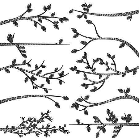 Doodle Style Tree Branch Silhouette Vectors Vettoriali
