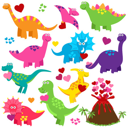 Vector Valentine Dinosaurs