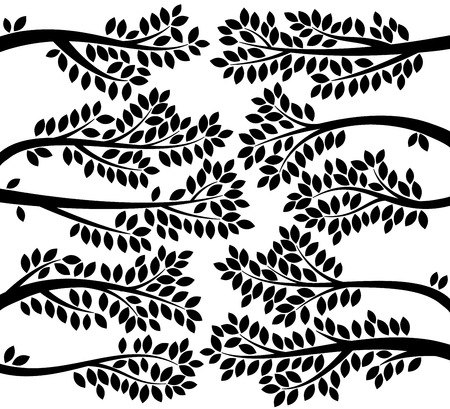 animal limb: Vector Collection of Leafy Tree Branch Silhouettes