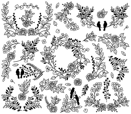 floral vectors: Valentines Day or Wedding Laurel Floral Vectors