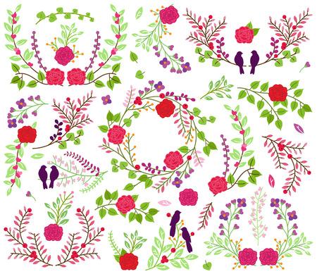 floral vectors: Valentines Day or Wedding Laurel Floral Vectors