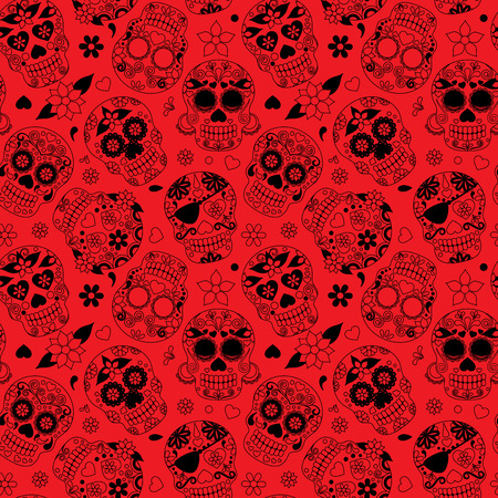 all saints day: Day of the Dead Sugar Skull Seamless Vector Background