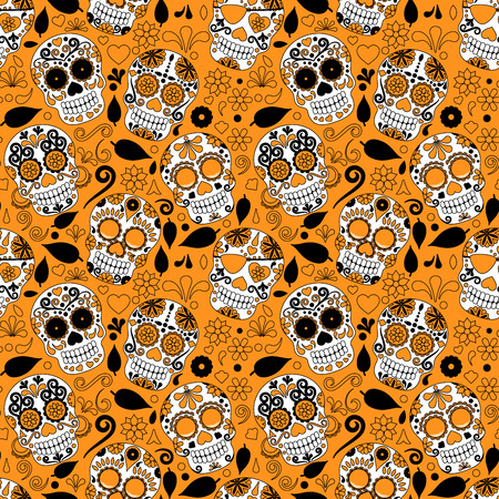 all souls day: Day of the Dead Sugar Skull Seamless Vector Background