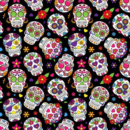 mexican: Day of the Dead Sugar Skull Seamless Vector Background
