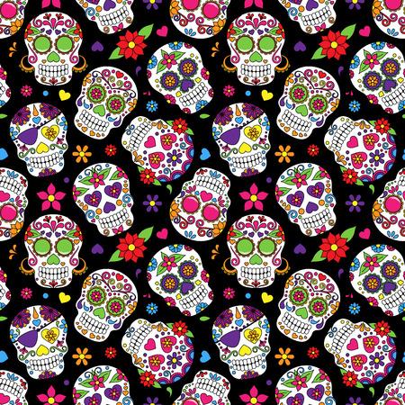 tatouage fleur: Jour de la mort de cr�ne de sucre fond seamless