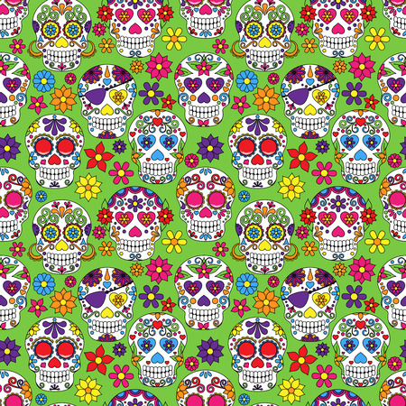 heart seamless pattern: Day of the Dead Sugar Skull Seamless Vector Background