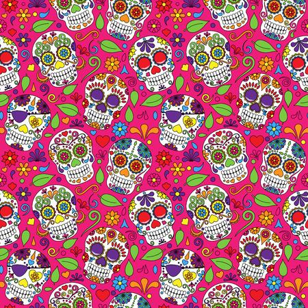 traje mexicano: Día del cráneo muerto del azúcar de fondo sin fisuras del vector Vectores